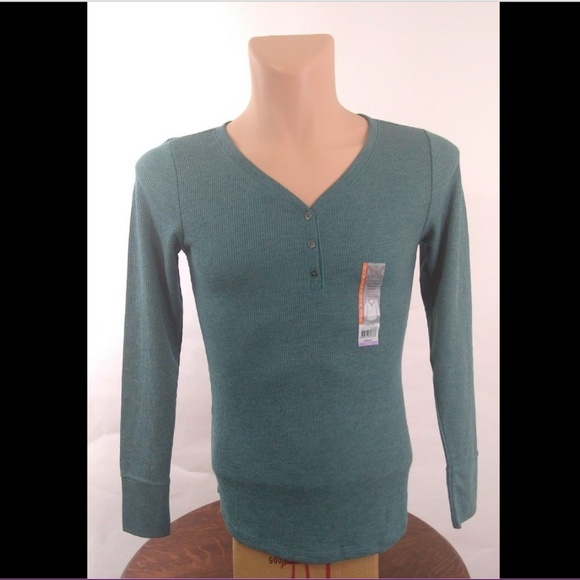 c4c60f67 Faded Glory Shirts | Ls Thermal Henley Antique Teal Heather | Poshmark